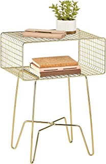 mDesign Modern Industrial Side Table with Storage Shelf - 2-Tier Metal Minimal End Table - Minimal Metallic Caged Grid - A...