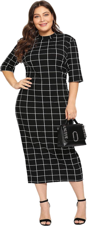 Floerns Women's Short Sleeve Gingham Bodycon Business Pencil Dress