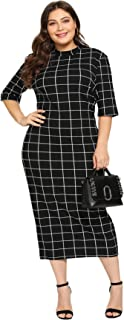 Women's Short Sleeve Plus Size Gingham Bodycon Business Pencil Dress
