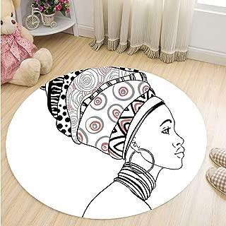 MOOCOM Afro Decor Decorative Round Mat,Exotic Safari Lady in Boho Turban Glamour Authentic Folkloric Fashion Design for Bathroom,59''R