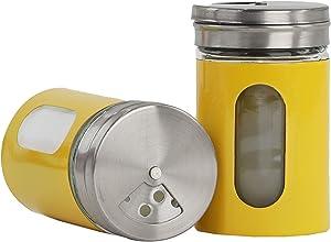 Yellow Salt Pepper Shakers Retro Spice Jars Glass - Set of 2