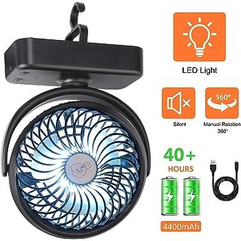 REENUO Ventilador Camping de Batería con Luz Camping LED, Ventilador de Escritorio Portátil USB, Enfriamiento para Caminatas al Aire Libre u Oficina en Casa: Amazon.es: Deportes y aire libre