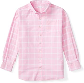 Amazon Essentials Men's Big & Tall Long-Sleeve Windowpane Pocket Shirt fit by DXL, Pink, 4XL