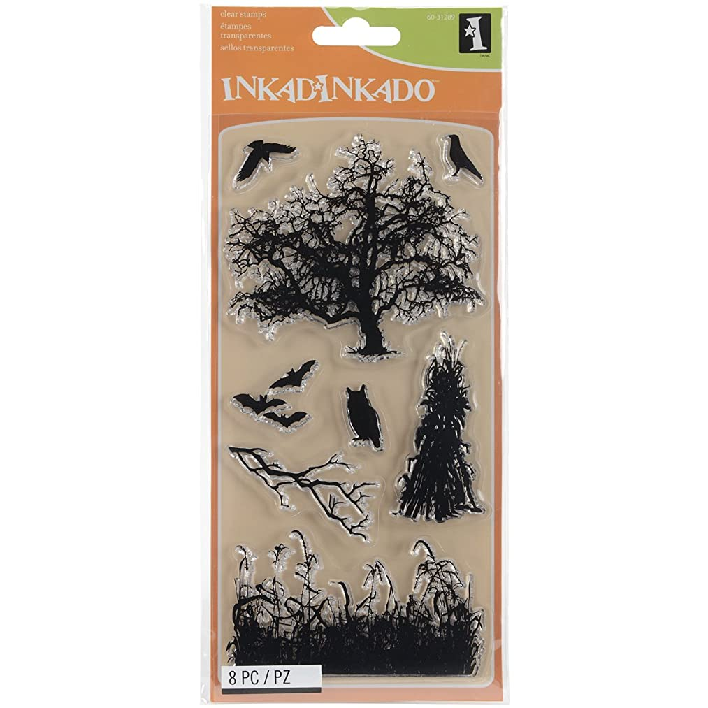 Inkadinkado Black Haunted Fields Unmounted Clear Rubber Stamp Set for Cards and Scrapbooking, 4'' L x 8'' H, 8 pc.