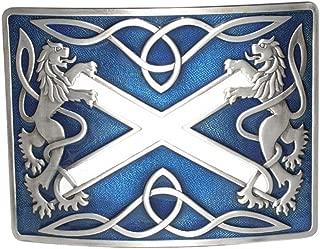 Highland Saltire and Lion Rampant Antique with Blue Enamel Kilt Belt Buckle