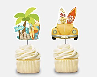 Surf Cupcake Toppers 12 pcs, Surfer Cake Picks Birthday Decoration, Beetle Party Supplies, Surfboard Themed Baby Shower, Beach Party