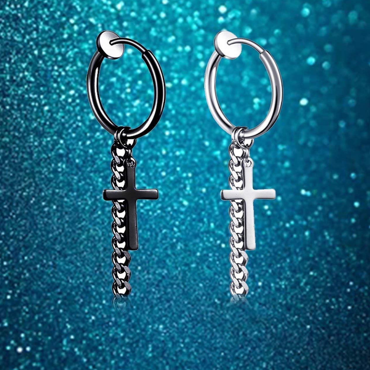 Unique Hip-hop Style Male Stainless Steel Hoop Ear Clip Circle Tassel Drop Dangle Earring Cross Ear Clip-Steel BCVBFGCXVB