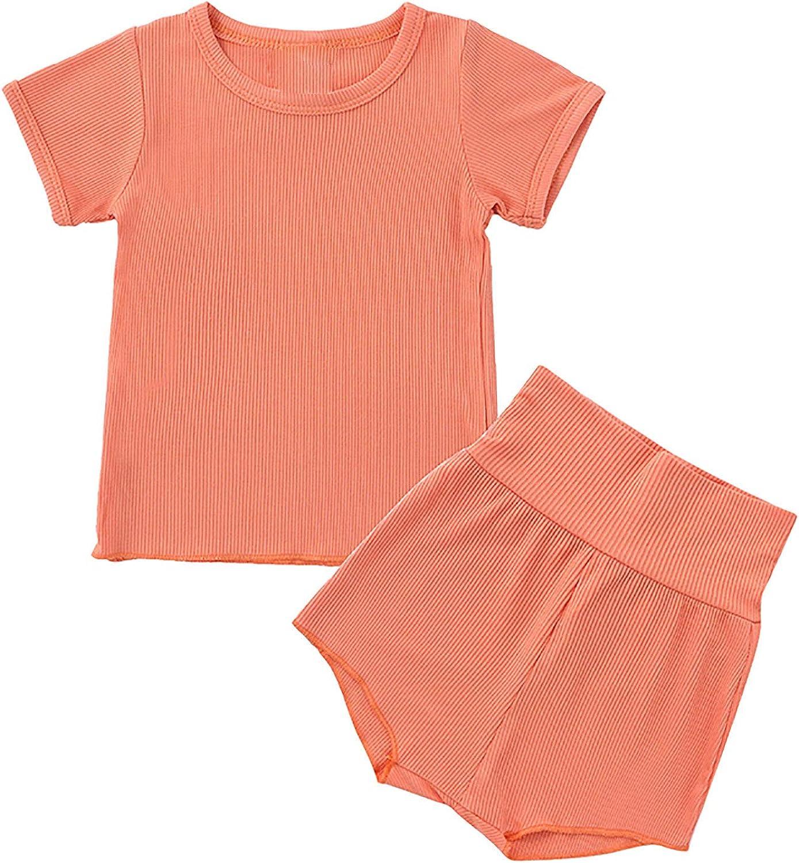 Toddler Baby Girl Ribbed Summer Clothes 3-Pack Short Sleeve Tshirt Top High Waist Bloomer Shorts Pant Lounge Set