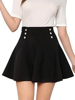 bdc2b48e7b SheIn Women's Basic Solid Button Front High Waist Flared Skater Mini Skirt