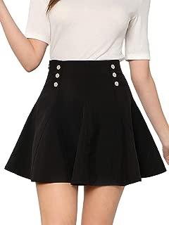 Women's Basic Solid Button Front High Waist Flared Skater Mini Skirt Black M