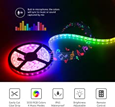 RGB LED Strip Lights Sync to Music with Music IR Remote Controller, EULOCA16.4ft 300 LEDs Waterproof LED Light Strip 5050 SMD RGB LED Flexible Strip Light - Decoration Lighting 12V /3A UL Listed
