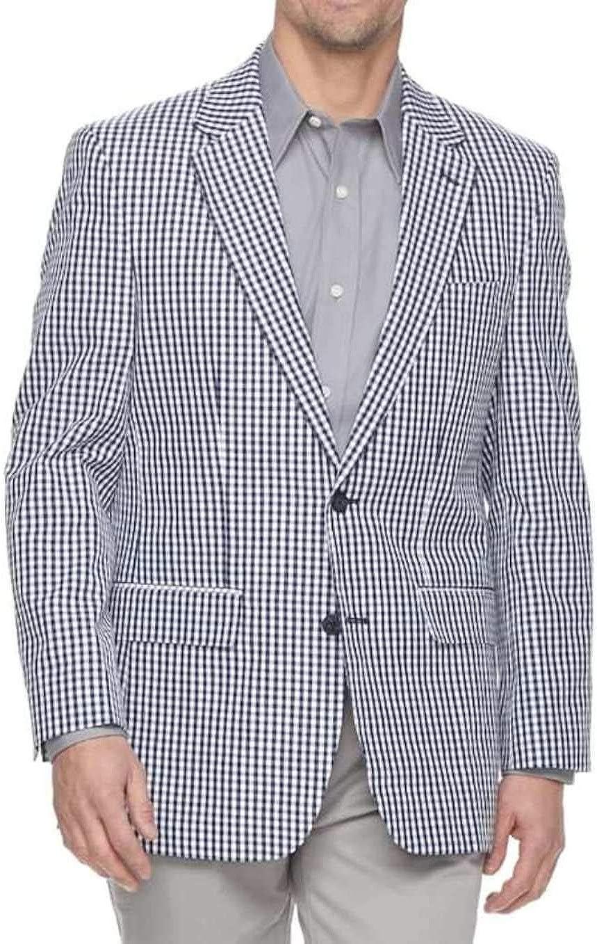 Croft & Barrow Men's Classic-Fit Summer Spring Navy Blue Gingham Coat Blazer