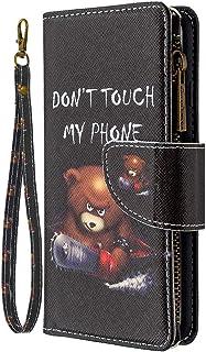 جراب محفظة بسحاب لهاتف Samsung Galaxy A21S، ملون بـ 9 فتحات للبطاقات من جلد البولي يوريثان بتصميم الدب المنشاري على شكل كت...