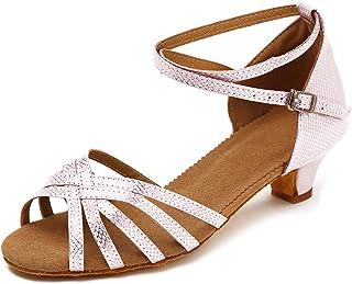SWDZM Mujer/Niñas Zapatos de Baile/estándar de Zapatos de Baile Latino Satén Ballroom Modelo,Tacón-1.57'', ES-XGG