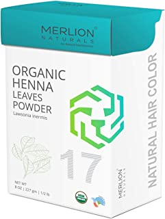 Organic Henna Leaves Powder by MERLION NATURALS | Lawsonia Inermis | 227 g / 8 OZ / 1/2 lb | USDA NOP Certified 100% Organic | For Natural Hair Color and Conditioning (8 OZ)