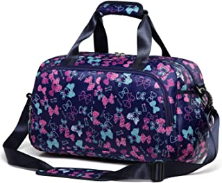 Small Gym Duffle Bag for Women Girls Carry On Overnight Duffel Travel Bag for Weekend Camping (Butterfly,Navy Blue)