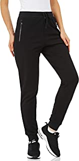 TACVASEN Women's Jogger Pants Cotton Tracksuit Bottoms Sports Sweatpants Stretch Training Trousers with Zip Pockets