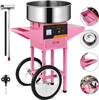 VEVOR Commercial Cotton Candy Machine Kit 110V Stainless Steel Electric Candy Floss Maker with Cart