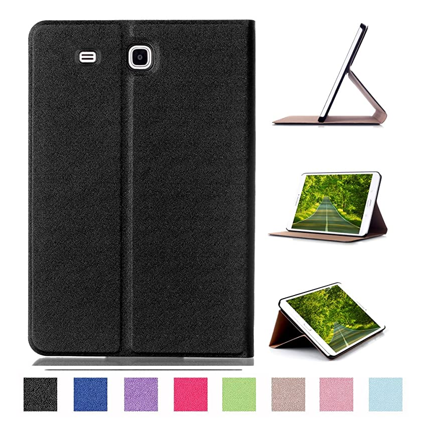 Galaxy Tab E 8.0 Case ,Heavy Duty Ultra-thin Case PU 360 Rotating Cover with Flip Folio Stand Full Body Protection Shell for Samsung Galaxy Tab E 8.0 SM-T377V (black 1)