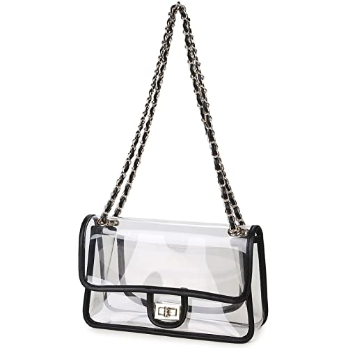 5068dae22729 Lam Gallery Womens Clear Purse Turn Lock Handbags Chain Shoulder Bags NFL  Approved Bags
