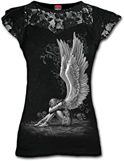 Enslaved Angel-Lace Layered Cap Sleeve Top Camiseta, Negro (Black 001), 48 (Talla del Fabricante: X-Large) para Mujer
