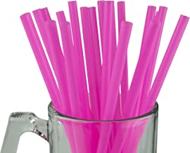 Made in USA Pack of 100 Individually Wrapped Pink Jumbo Plastic Smoothie (10