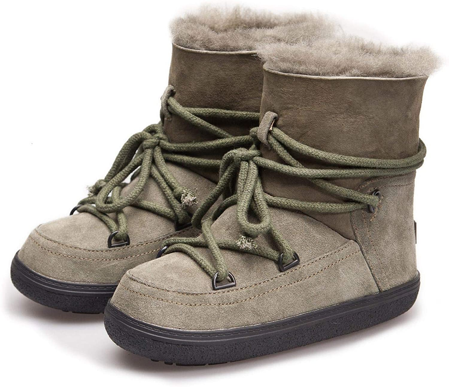 HaHapo Winter Real Leather Boots Women's Wool Fur Snow Boots Thickening Space Boots Warm Cross-Tied Boots