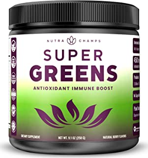 Super Greens Antioxidant Superfood Powder - Organic Green Veggie & Fruit Whole Foods for Immune System Support - Wheat Gra...