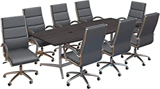 Bush Business Furniture 96W x 42D Boat Shaped Conference Table with Metal Base and Set of 8 High Back Office Chairs in Storm Gray