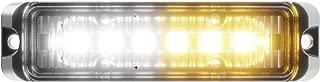 Abrams Flex Series (Amber/White) 18W - 6 LED Snow Plow Truck Vehicle LED Grille Light Head Surface Mount Strobe Warning Light