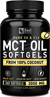 Pure MCT Oil Capsules (360 Softgels | 3000mg) 4 Month Supply MCT Oil Keto Pills w Unrefined Coconut Oil - C10 & C8 MCT Oil...