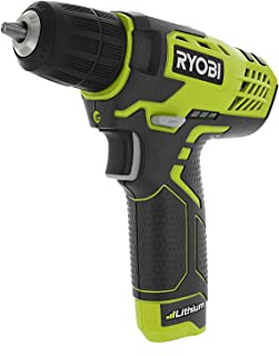 Ryobi HP108L Compact 8 Volt Lithium Ion Cordless 3/8  580 RPM Drill / Driving Kit (8V 1.3 Amp Hour Battery and Charger Included) (Renewed)