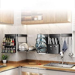 Égouttoir à vaisselle mural de cuisine avec support pour couteaux, pot à épices et crochets mobiles pour suspendre les pet...