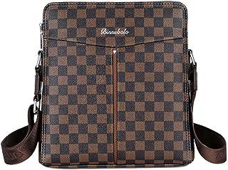 Men's Leather Casual Plaid Tote Shoulder Messenger Bag-9201-2