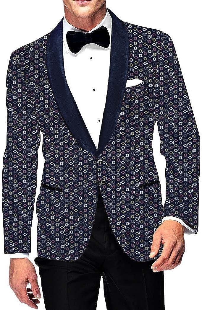 INMONARCH Mens Slim fit Casual Dark Navy Cotton Blazer Sport Jacket Coat Circle Printed SB102