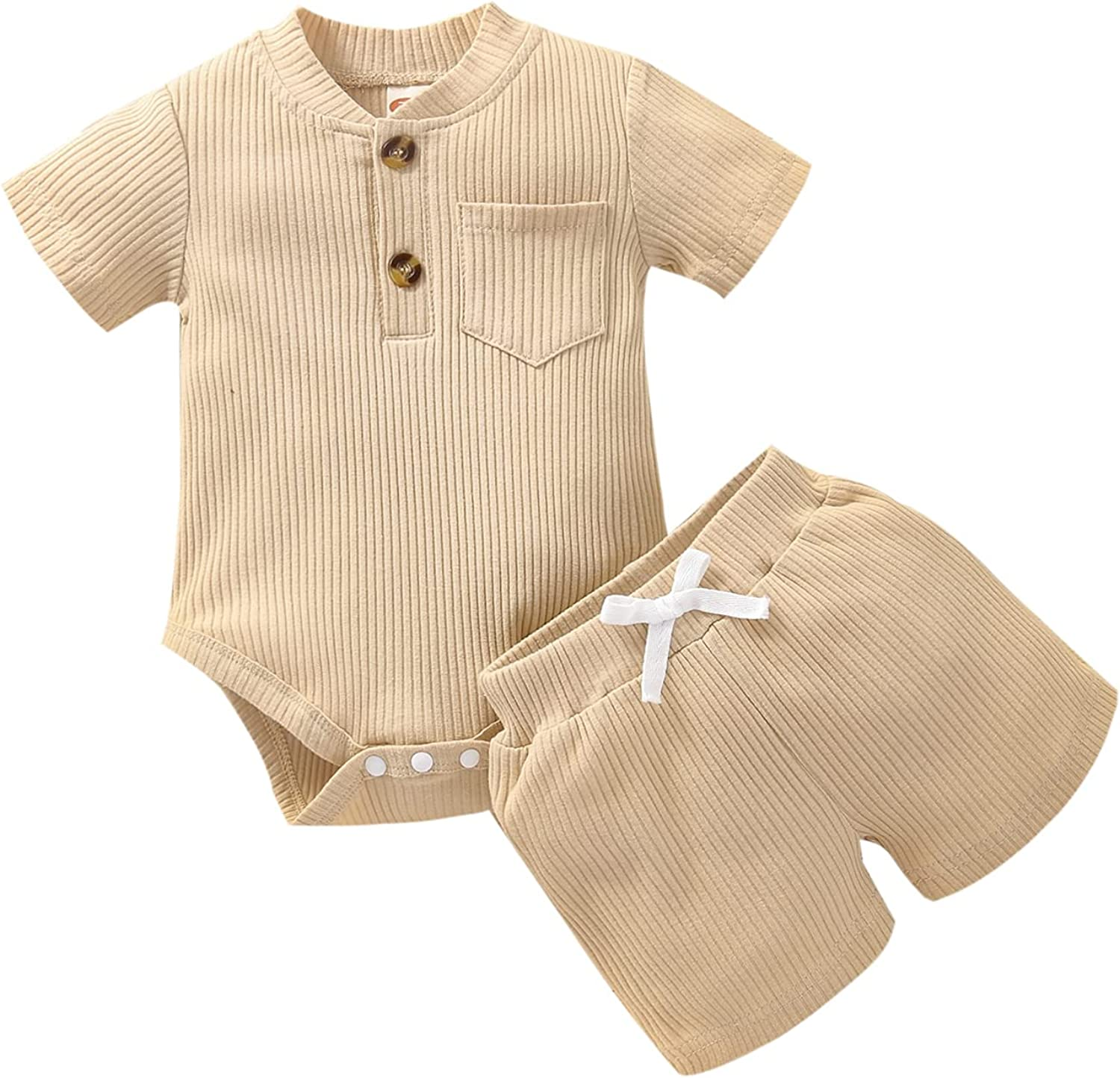Summer Newborn Baby Boy Girl Clothes Ribbed Outfit Infant Unisex Short Sleeve Pocket Romper Tops and Shorts Set