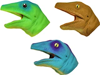 Barry Owen Co. 3 Pack - Soft Rubber Realistic 6 Inch Lizard Hand Puppet (Collect All 3 Colors)