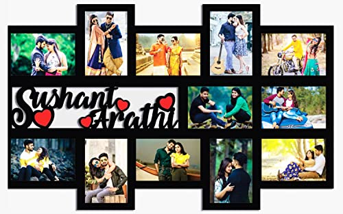 GiftsWale Customized Couple Collage Photo Frame For Anniversary And Birthday   Personalized with your 12 Pictures and...