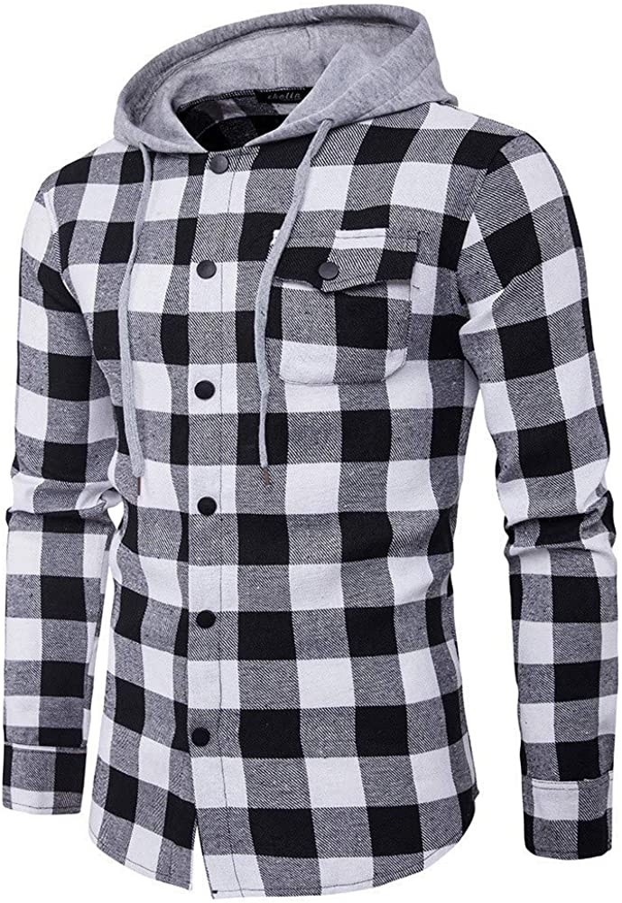 Men's Hoodie Shirts Long Sleeve Lightweight Jacket Sweatshirt Checkered Classic Slim Fit Plaid Button Down Shirt