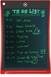 MultiPurpose LCD e-Writing Board, also Inkless Drawing/Memo Pads or Paperless Noting/Planning Boards (8.5-inch, Red)