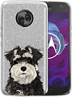 WIRESTER Case Compatible with Motorola Moto X4 / Moto X 4th Gen 2017 5.2 inch, Shiny Sparkling Silver Bling Glitter TPU Protector Cover Case for Moto X4 - Cute Schnauzer Puppy Dog