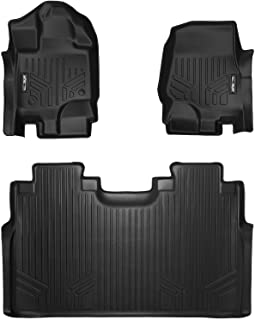 SMARTLINER Custom Fit Floor Mats 2 Row Liner Set Black for 2015-2019 Ford F-150 SuperCrew Cab with 1st Row Bucket Seats