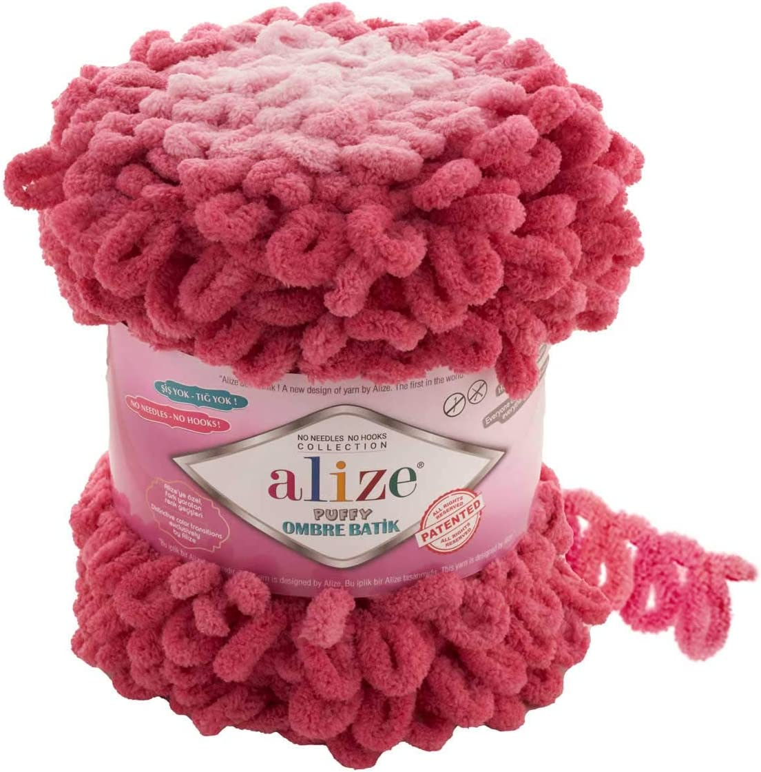 Bigger Loops Alize Puffy Ombre Batik Yarn 61yd of 600gr 1skn Sale item shop Lot