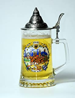 HauCoze Beer Glasses Mugs Beer Steins With OKTOBERFEST MUNCHEN and Pewter Lid Pint Glass Pilsner Glass Gifts for Man Woman 0.45L