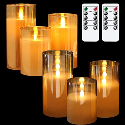 discount GenSwin Flameless LED Glass Candles Bundle, lowest 6 Pack Gold Glass Flameless Candles with 2 Remotes, 3 Inch Diameter 4 5 wholesale 6 inch Tall online sale