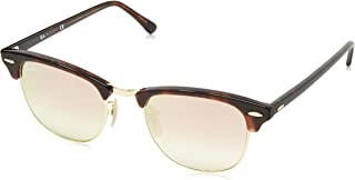 RAY-BAN RB3016 Clubmaster Square Sunglasses, Shiny Red Havana/Copper Gradient Flash, 49 mm