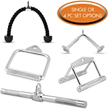 Cable Attachments by Day 1 Fitness – Choose from 5 Single Unit Options: V-Shaped Bar, Rotating Straight Bar, Tricep Rope, D-Handle, Double D-Handle, OR 4 PC Combo Set  - for Weightlifting, Exercise