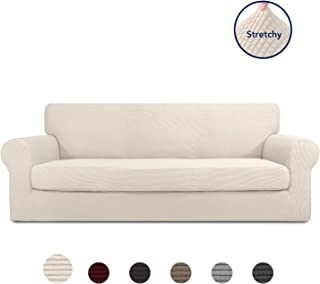 PureFit 2 Pieces Stretch Slipcover for 3 Cushion Couch –...