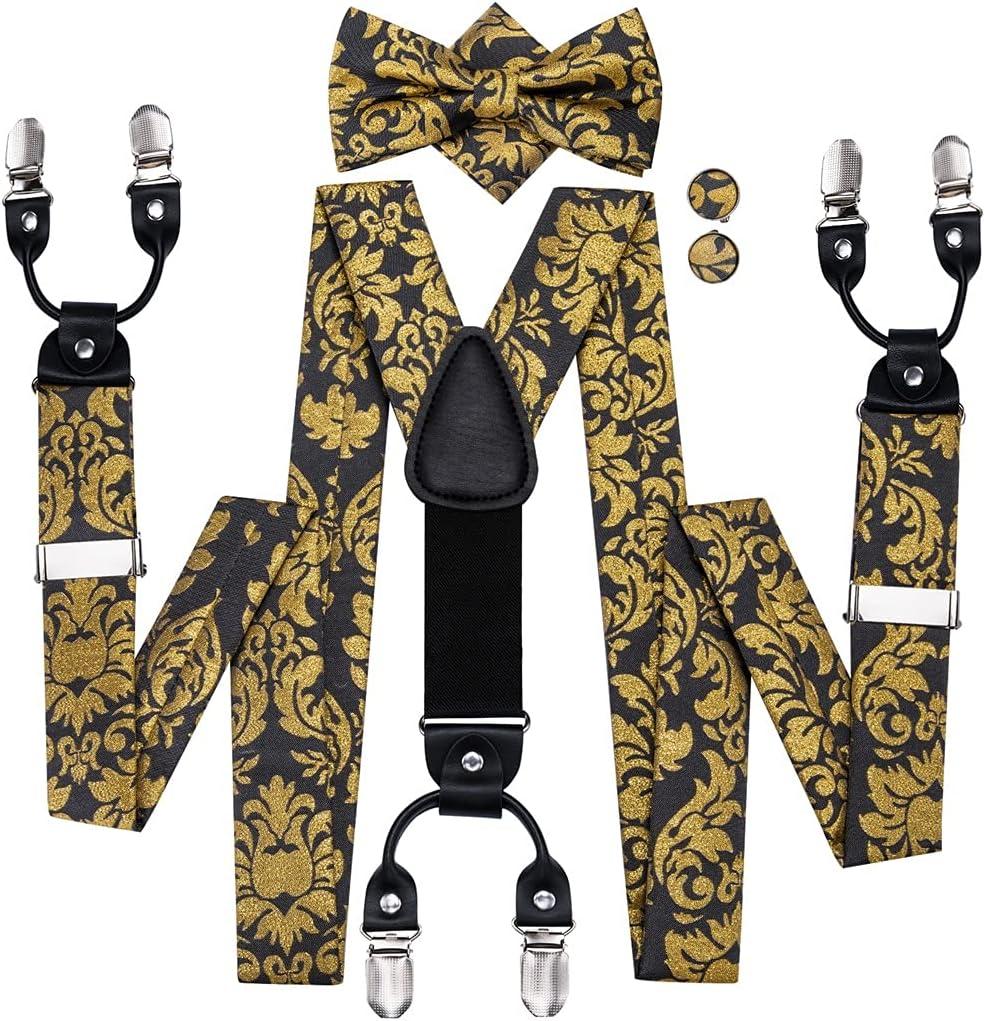 HLDETH Men Suspenders Set Leather Metal 6 Clips Braces Gold Floral Vintage Men's Fashion Elastic Wedding Suspenders (Color : A, Size : Adjustable)