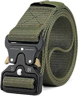 Fierce 2 Pack Tactical Belt Military Style Webbing Riggers Web Belt Heavy-Duty Quick-Release Metal Buckle Belt for Men,3.8cm Black//Khaki